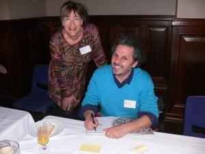 "Me and Michael Camileri, illustrator of ""One Minute's Silence"" and winner of Crichton Award for best new illustrator"